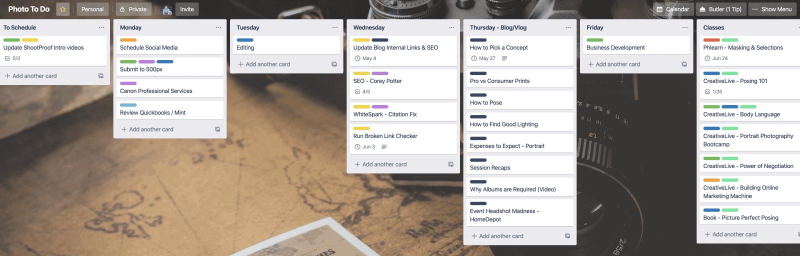 schedule weekly tasks with Trello