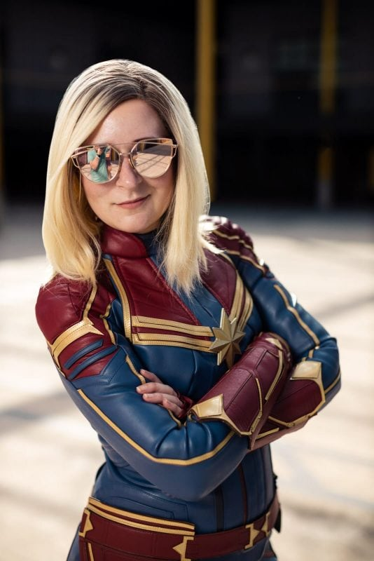 captain marvel cosplay wearing sunglasses atlanta