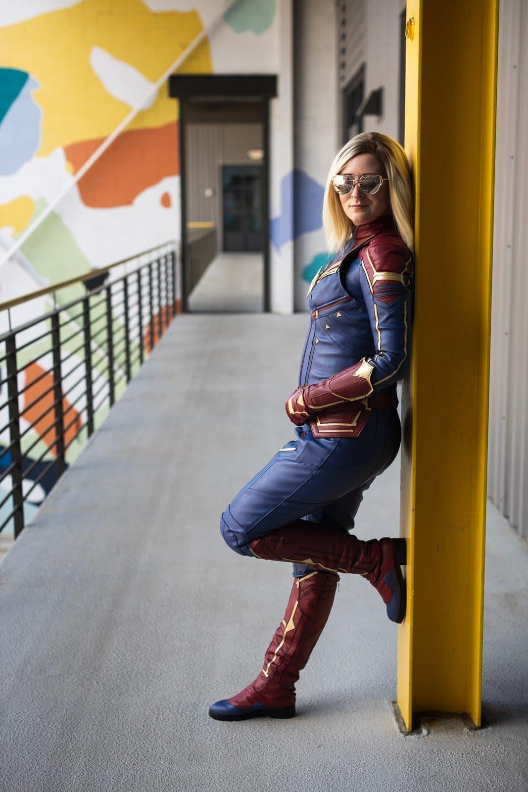 captain marvel cosplay at atlanta parking garage