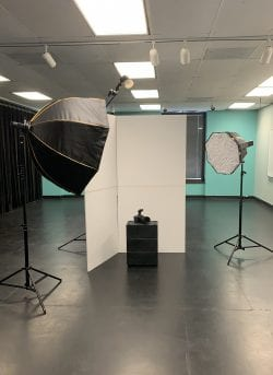 behind the scenes set up for headshots