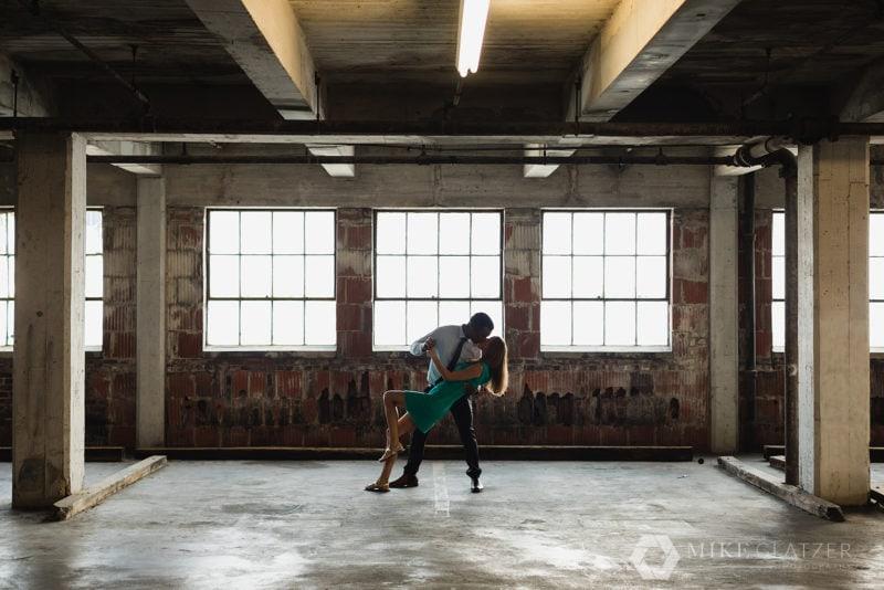 guy dips fiancé in atlanta parking garage to avoid rain for photoshoot