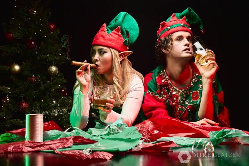 disgruntled elves after building toys