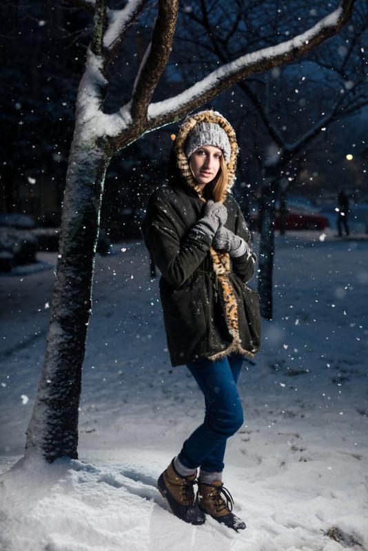 atlanta senior picture in snow