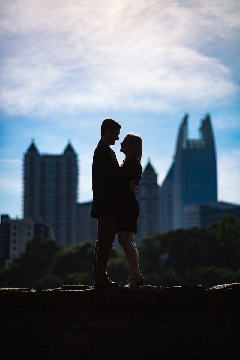 Atlanta piedmont park skyline engagement