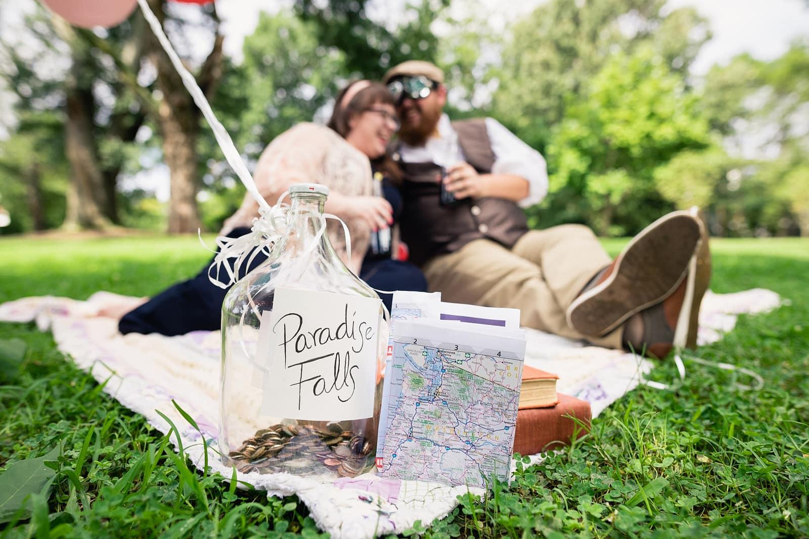 disney themed engagement session at Atlanta Piedmont Park