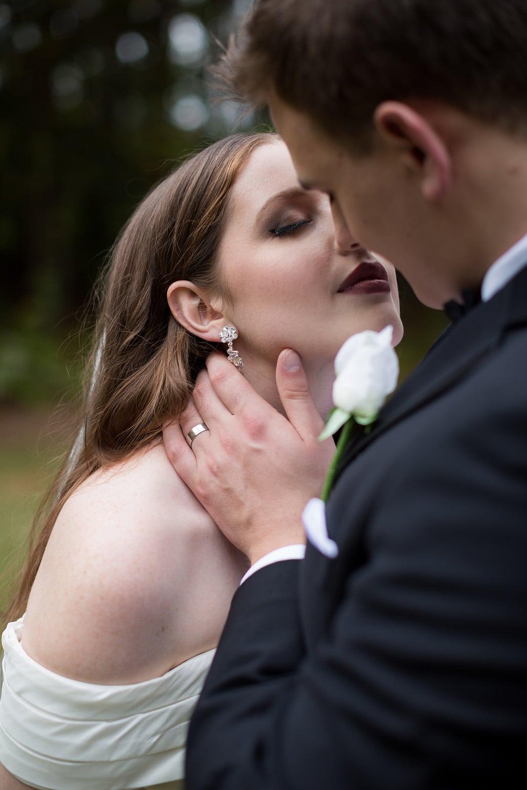 Atlanta Wedding bridal kissing portrait by Mike Glatzer