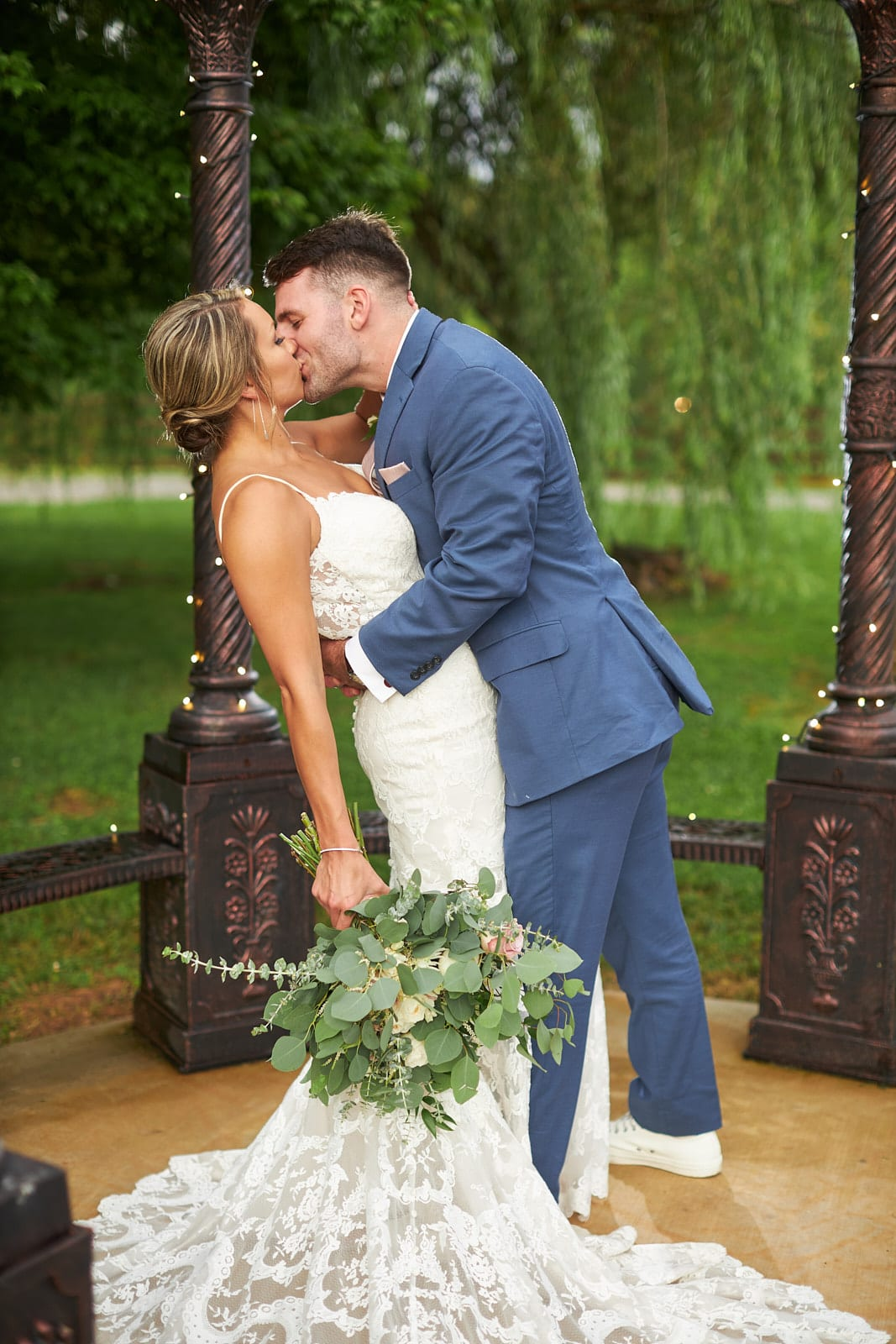 groom dips bride at the willows farm georgia