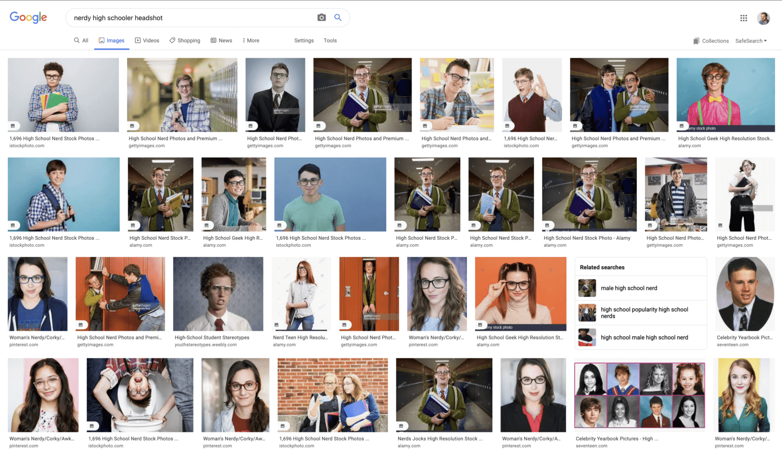 google image search for what to wear for nerdy high school acting headshots